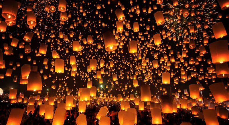 lễ hội đèn trời tại thái lan