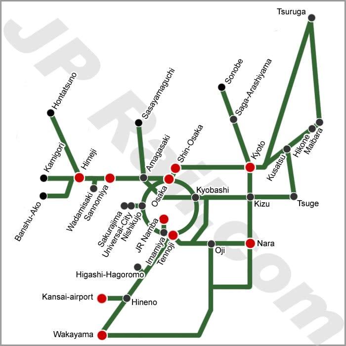 bản đồ jr pass tại kansai