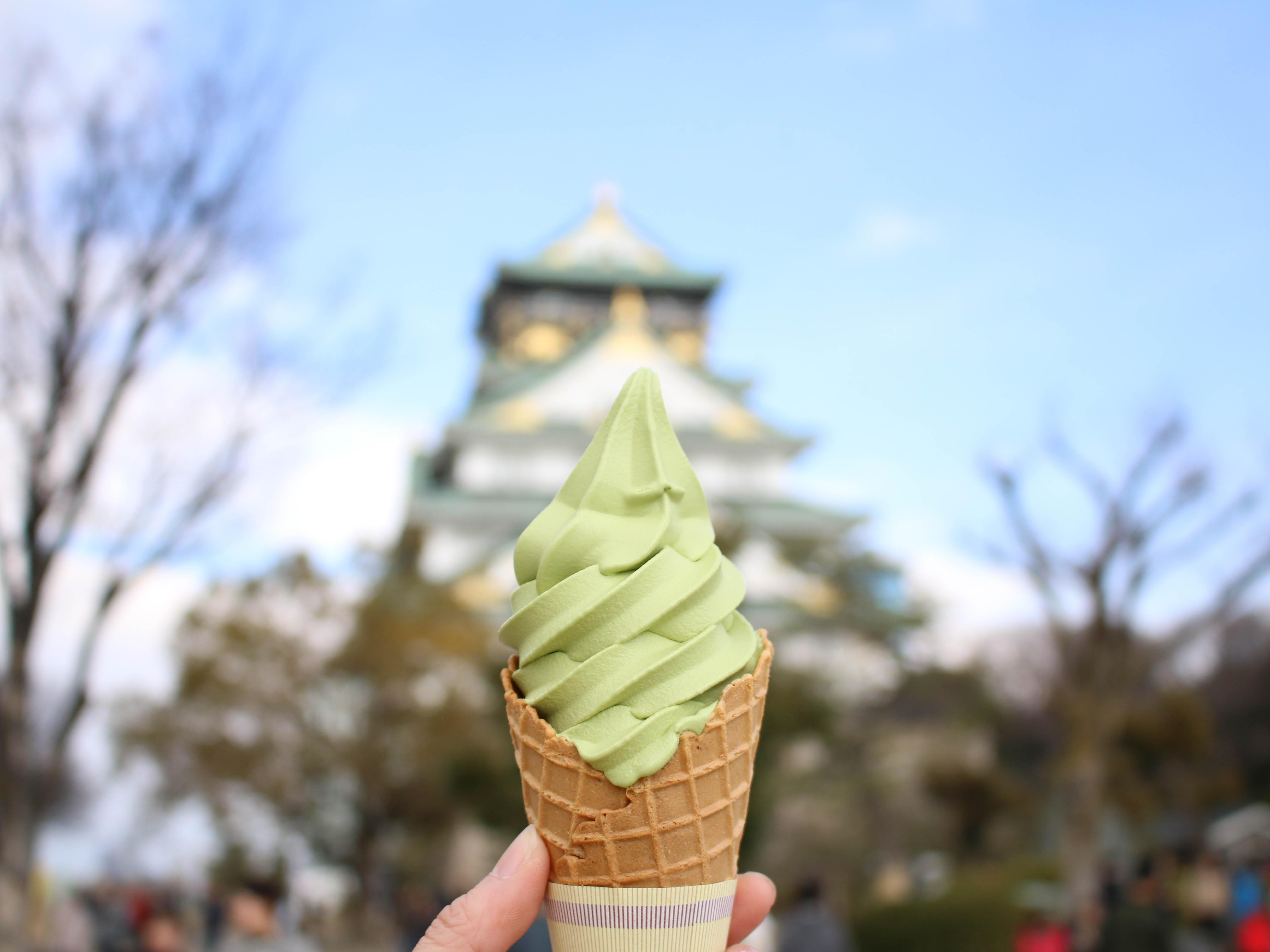 ẩm thực osaka: kem matcha ở osaka jou honzen
