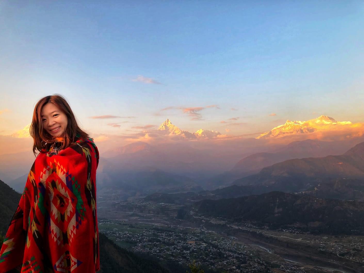 du lịch nepal: hoàng hôn sarangkot