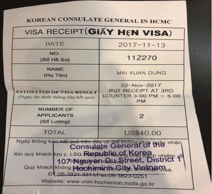 giấy hẹn visa trong chuyến du lịch hàn quốc 6 ngày 5 đêm
