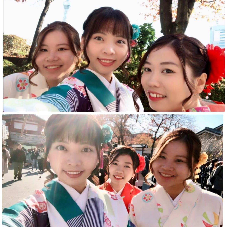 mặc kimono ở nhật bản: chụp hình tại sensoji