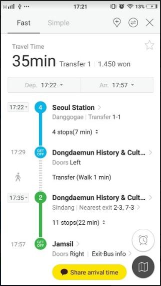app metro dùng cho chuyến du lịch tự túc hàn quốc