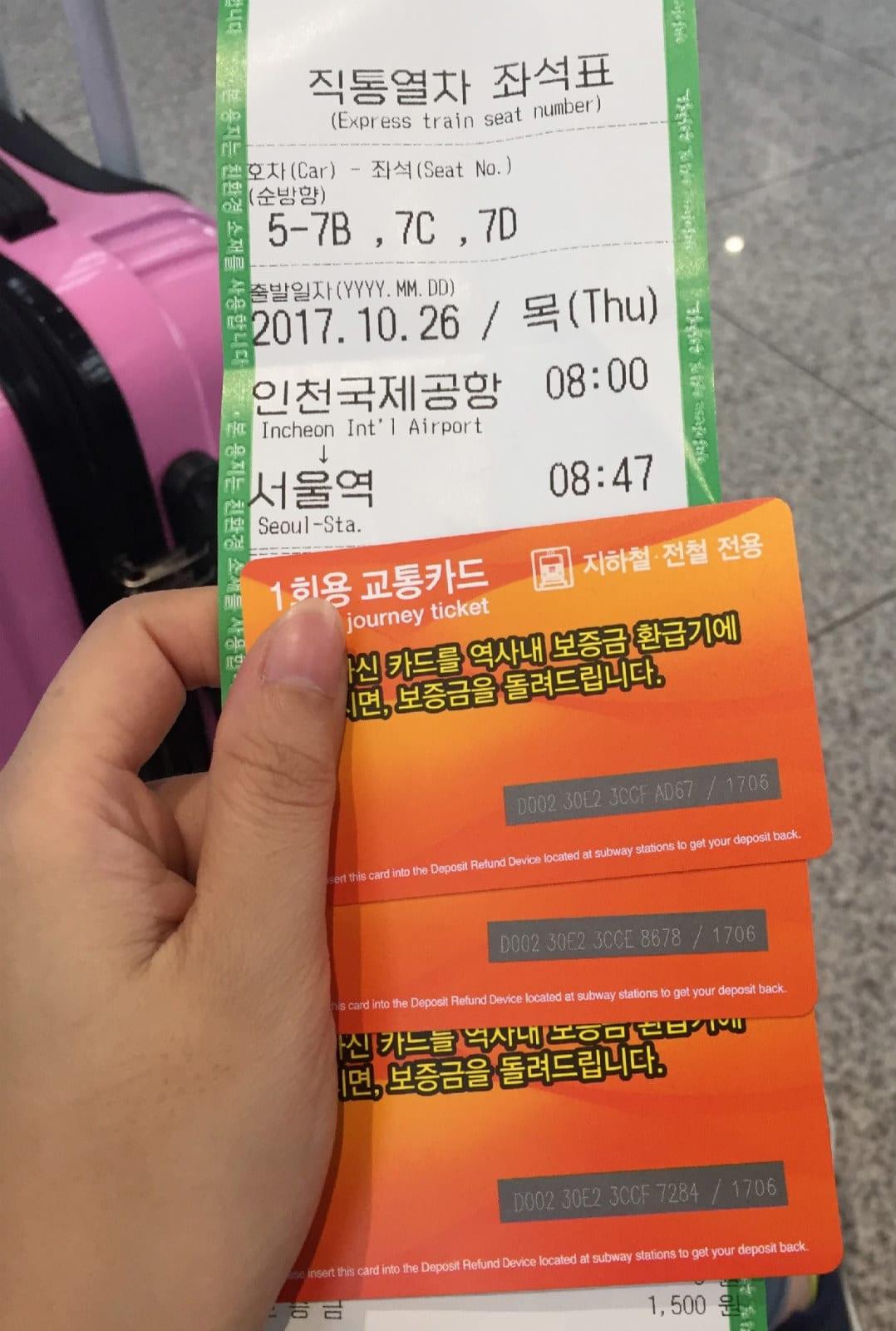 thẻ tàu arex express trong chuyến du lịch tự túc hàn quốc