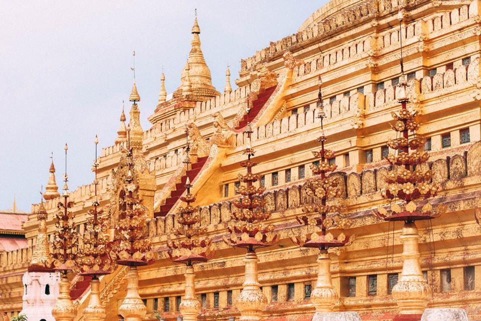 du lịch bagan - chùa shwe zi gon nhìn từ phía bên