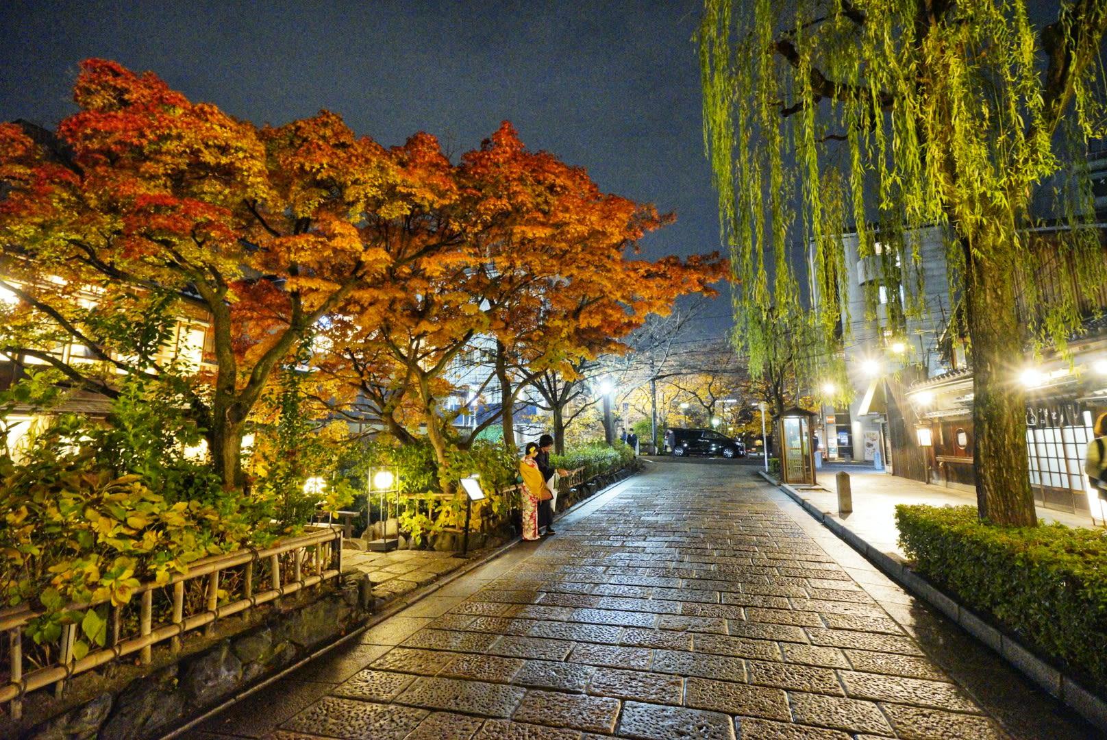 đến Gion vào đêm muộn trong lịch trình ngắm mùa thu ở kyoto