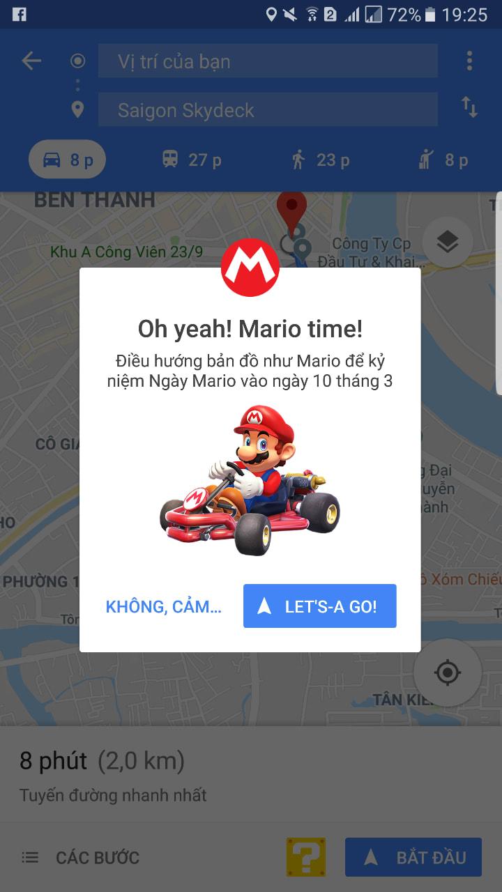 sự xuất hiện của mario trên google map