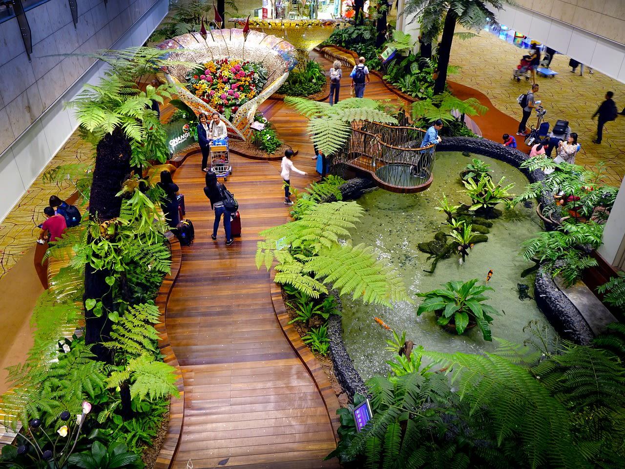 ngắm vườn bách thảo tại sân bay changi trong lịch trình du lịch singapore - malaysia cho gia đình