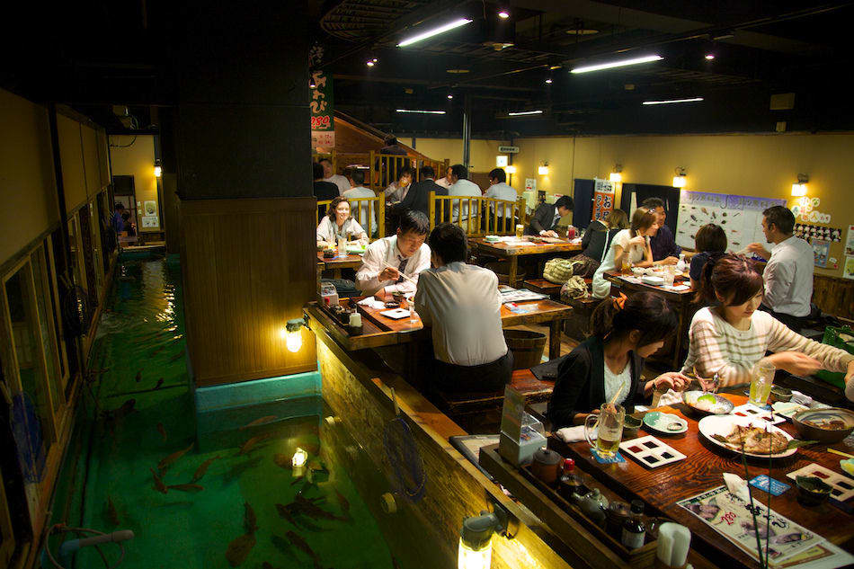 nhà hàng câu cá là một trong 10 quán cafe ở nhật bản có phong cách độc đáo