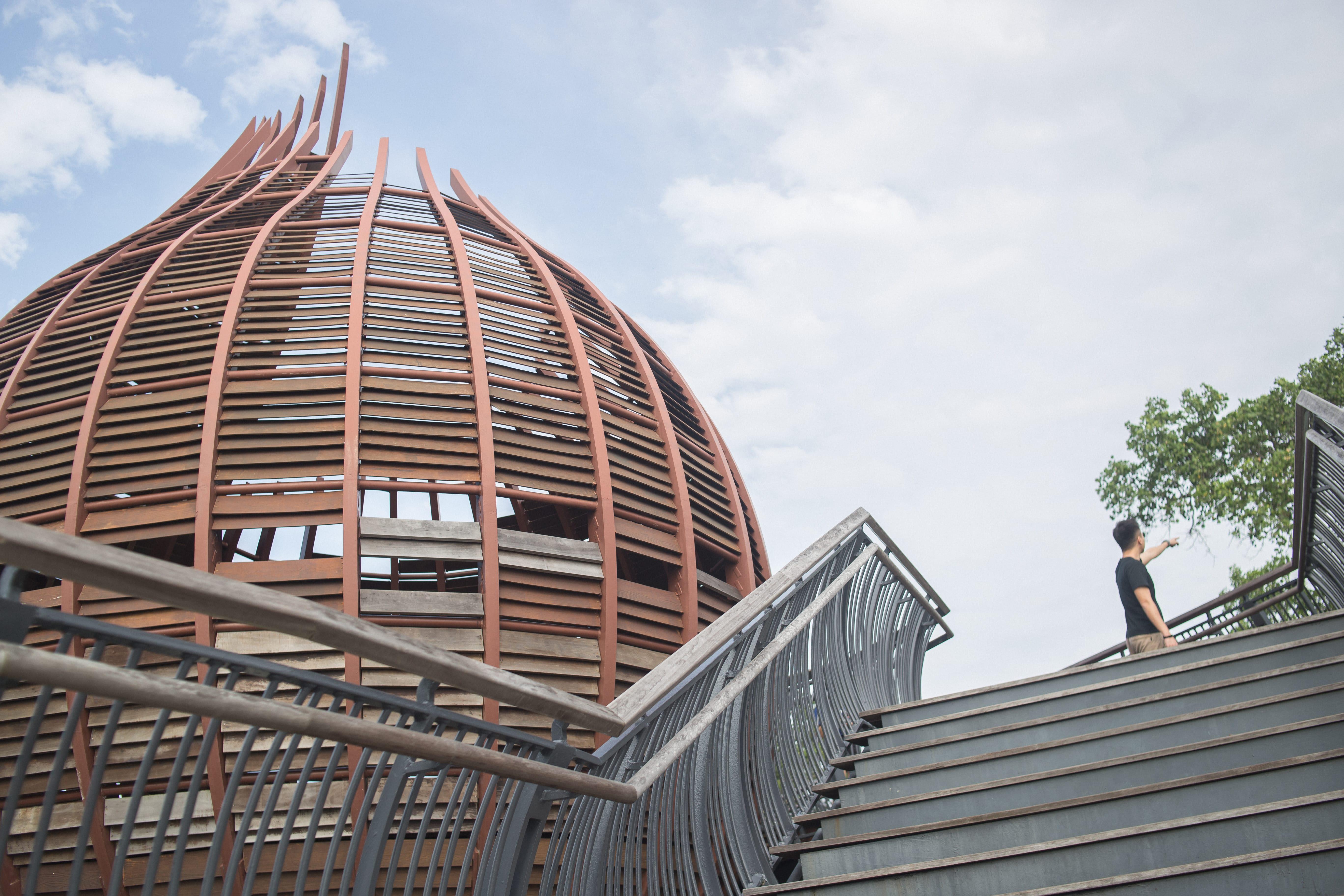 lên đài quan sát ở khu bảo tồn phía tây singapore