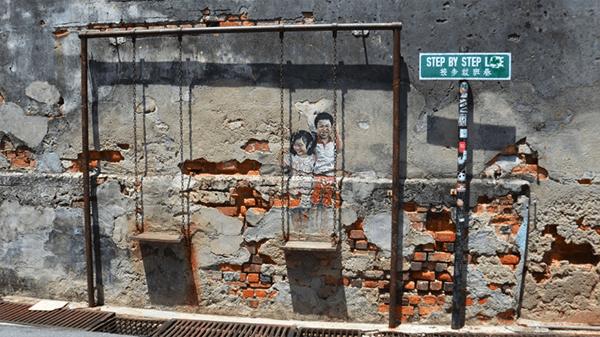 kinh nghiệm du lịch penang: chụp ảnh tại những bức tường nghệ thuật