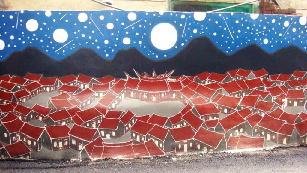 bích họa về cuộc sống người khách gia ở neipu