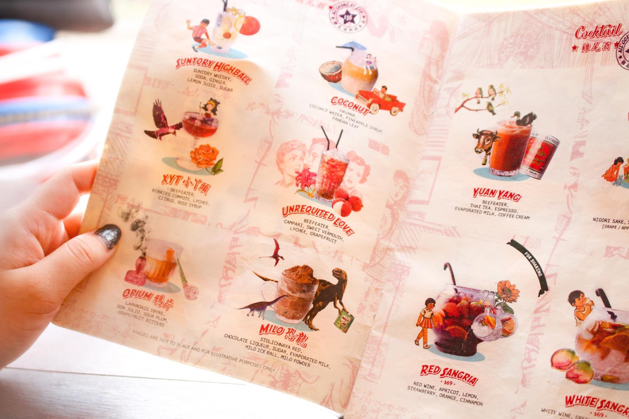 menu cocktail tại xiah ya tou