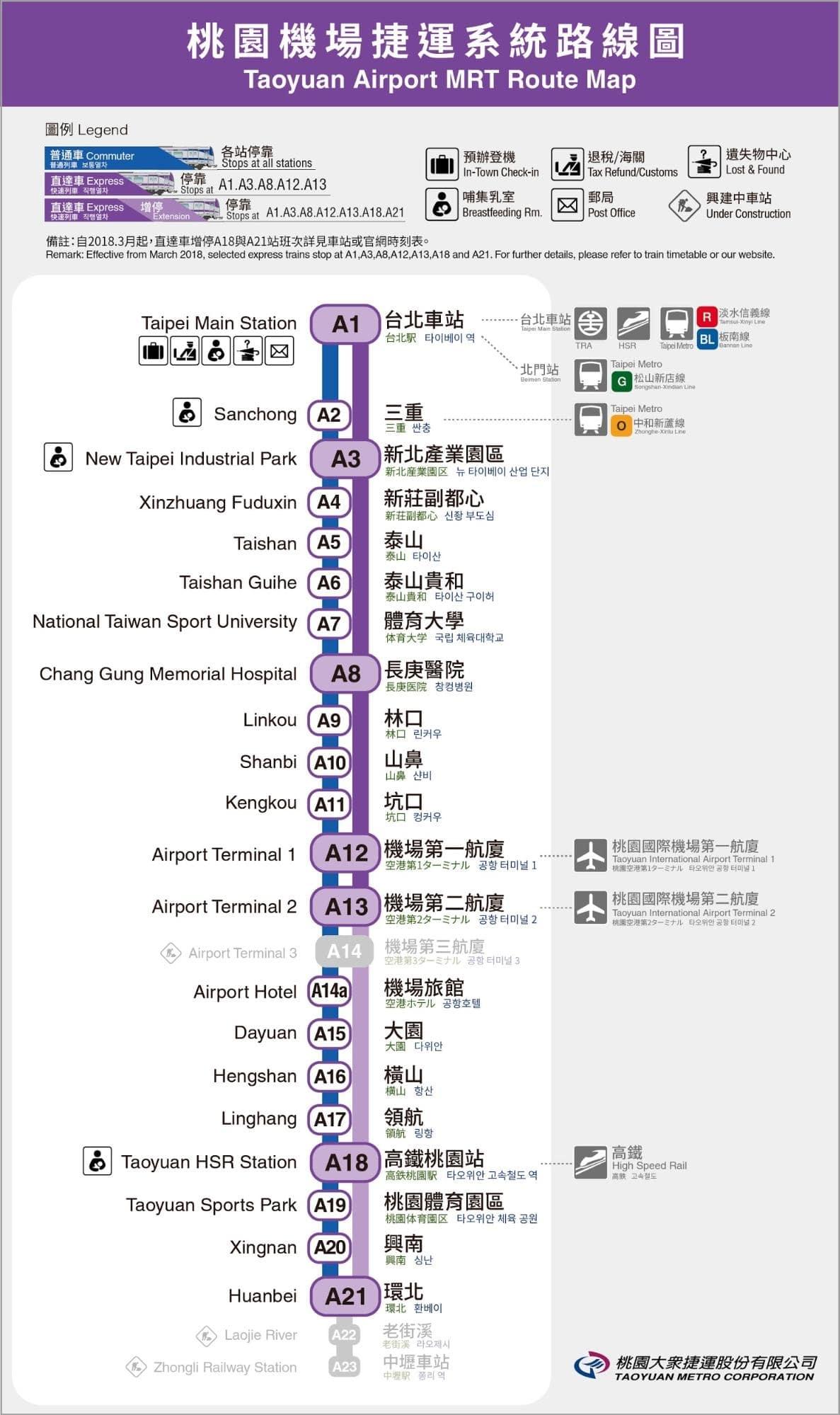 các tuyến tàu điện ngầm từ sân bay đào viên