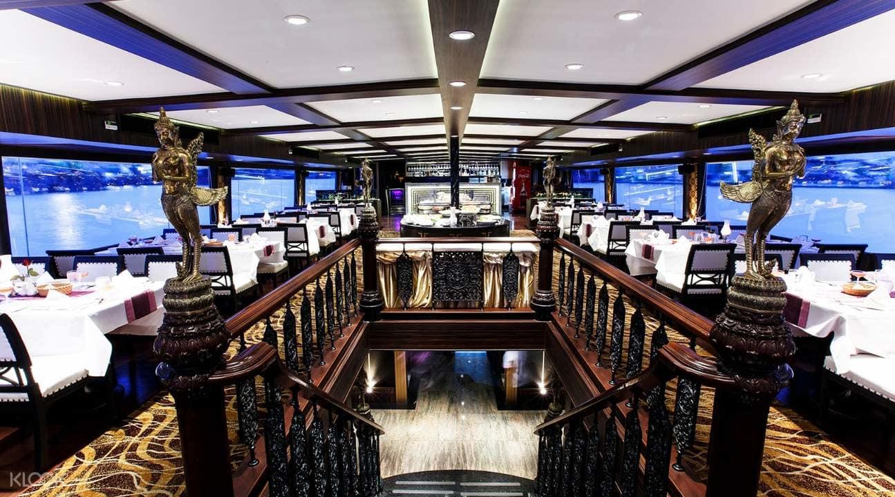 nội thất sang trọng bên trong du thuyền chao phraya princess