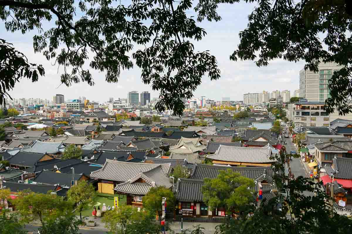 thành phố jeonju nhìn từ trên cao