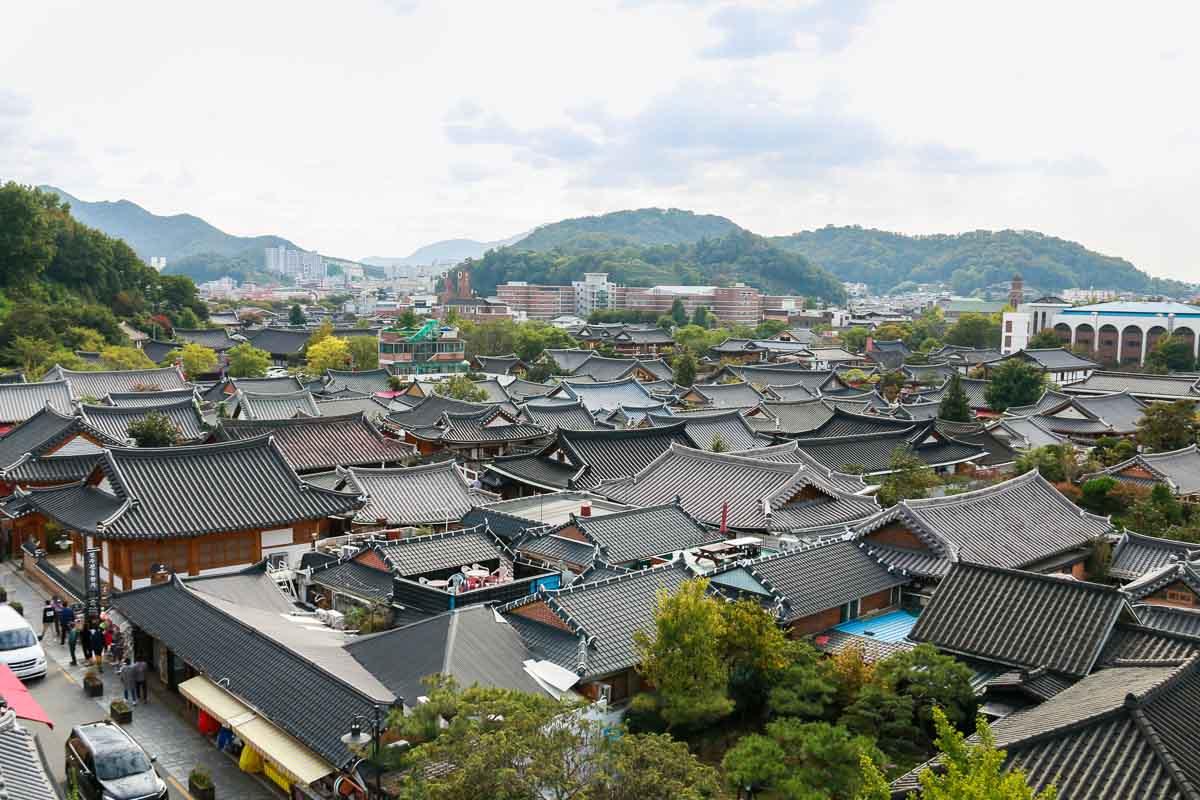 làng cổ hanok jeonju nhìn từ trên cao