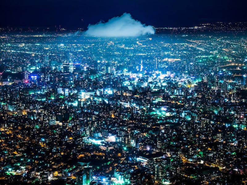 thành phố về đêm nhìn từ núi moiwa