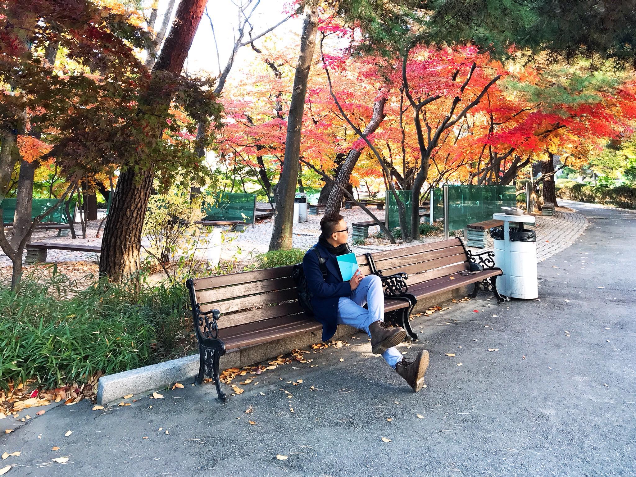 chụp hình tại công viên Yeouido