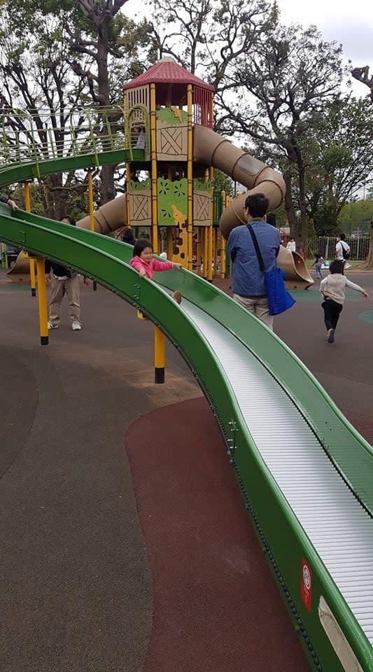 cầu trượt ở công viên meiji jingu gaien
