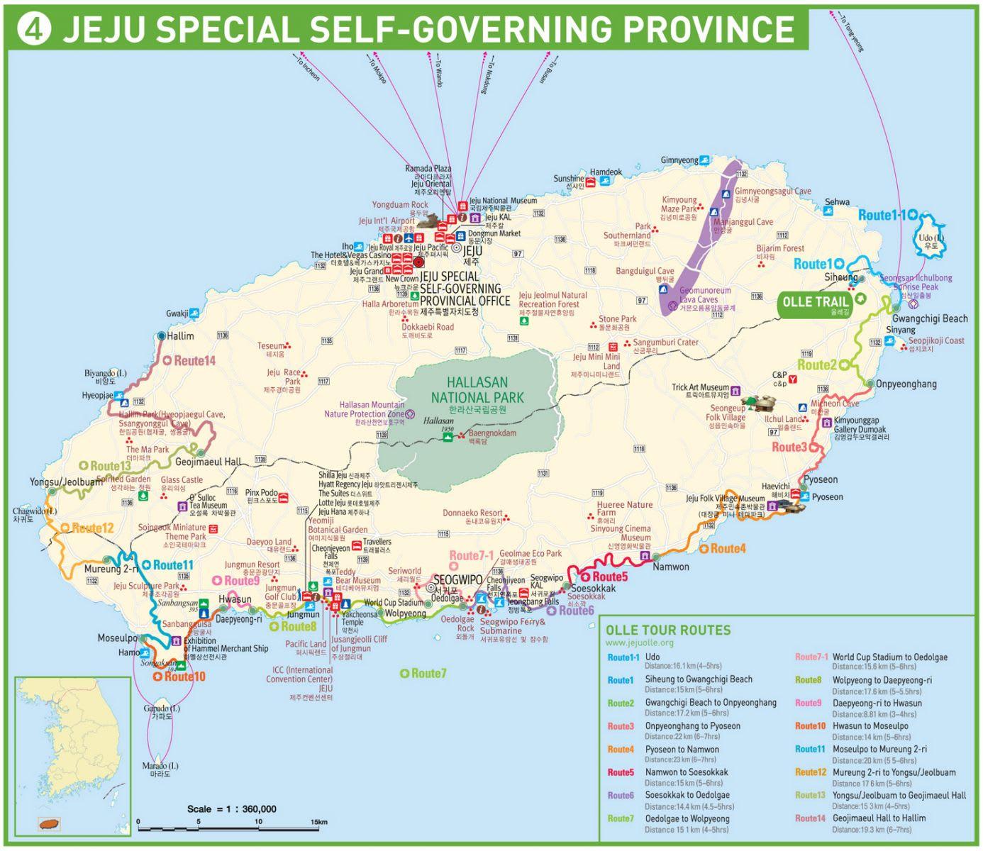 bản đồ du lịch đảo jeju