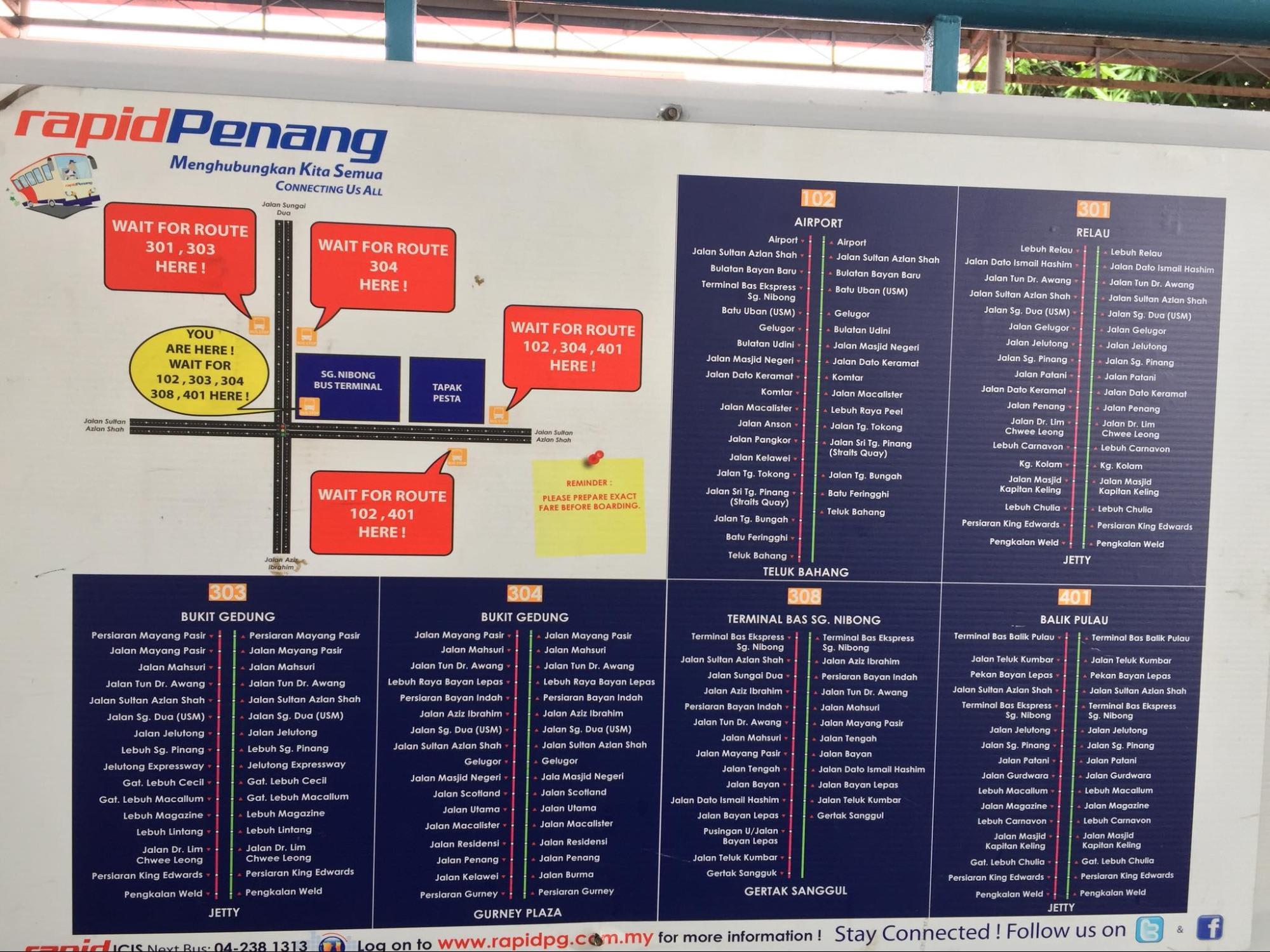bản đồ xe bus tại penang