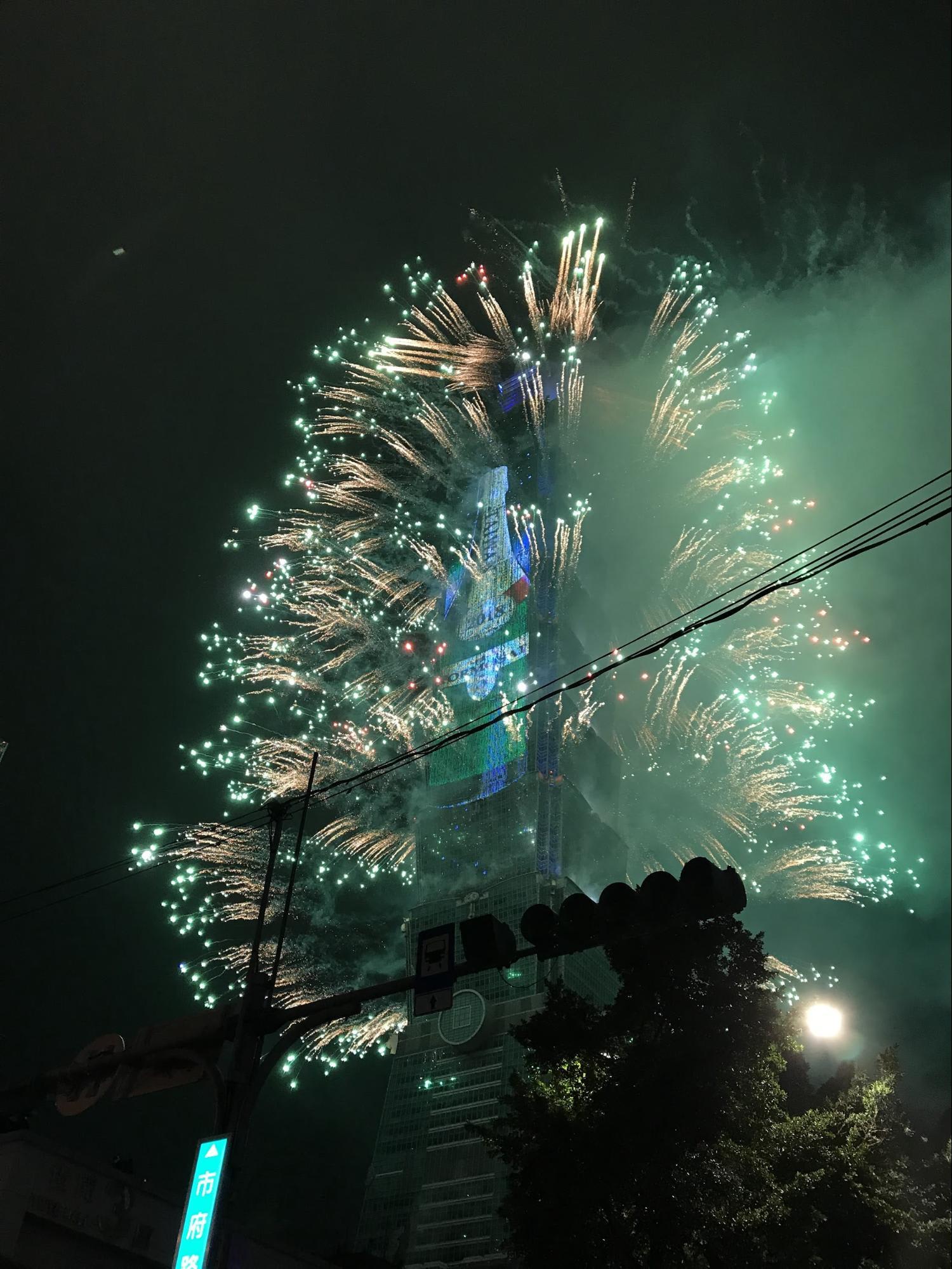 pháo hoa giao thừa tại taipei 101