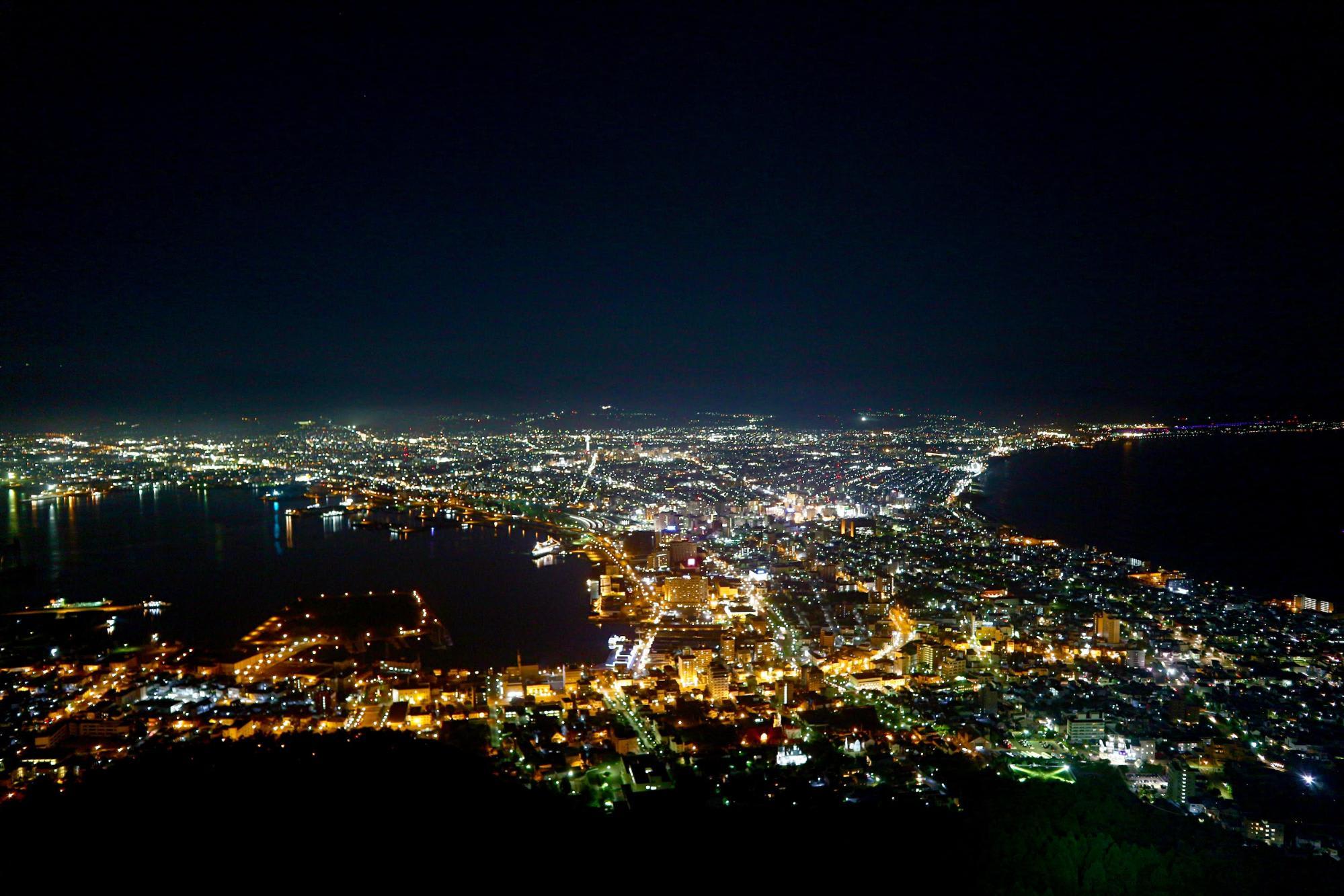 nhật bản về đêm nhìn từ núi hakodate