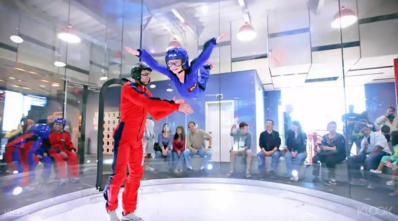 Little boy in wind tunnel at iFly Singapore
