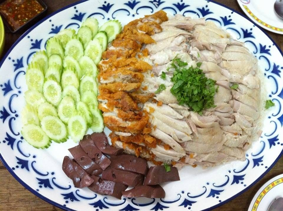 close-up of giant chicken rice in bangkok
