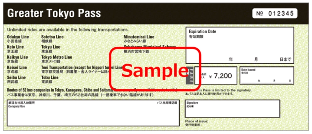 Greater Tokyo Pass Paper Ticket