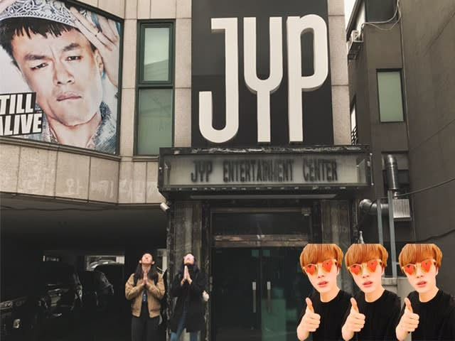 Outside the JYP building in Seoul
