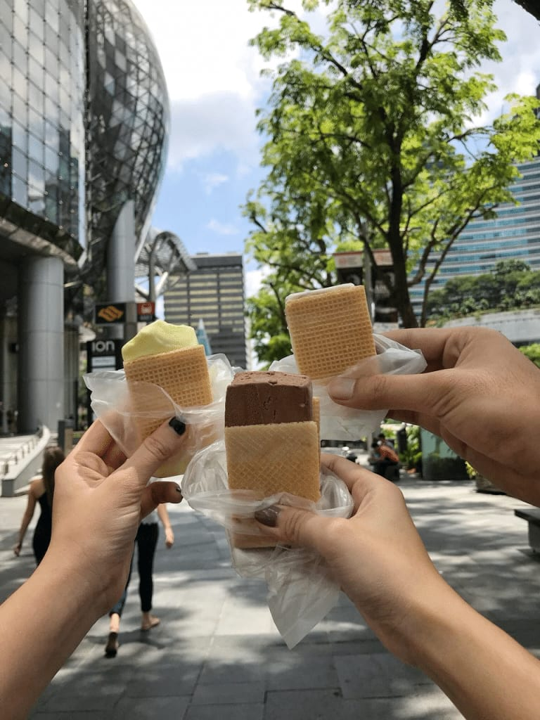 Wafer ice cream along Orchard Road