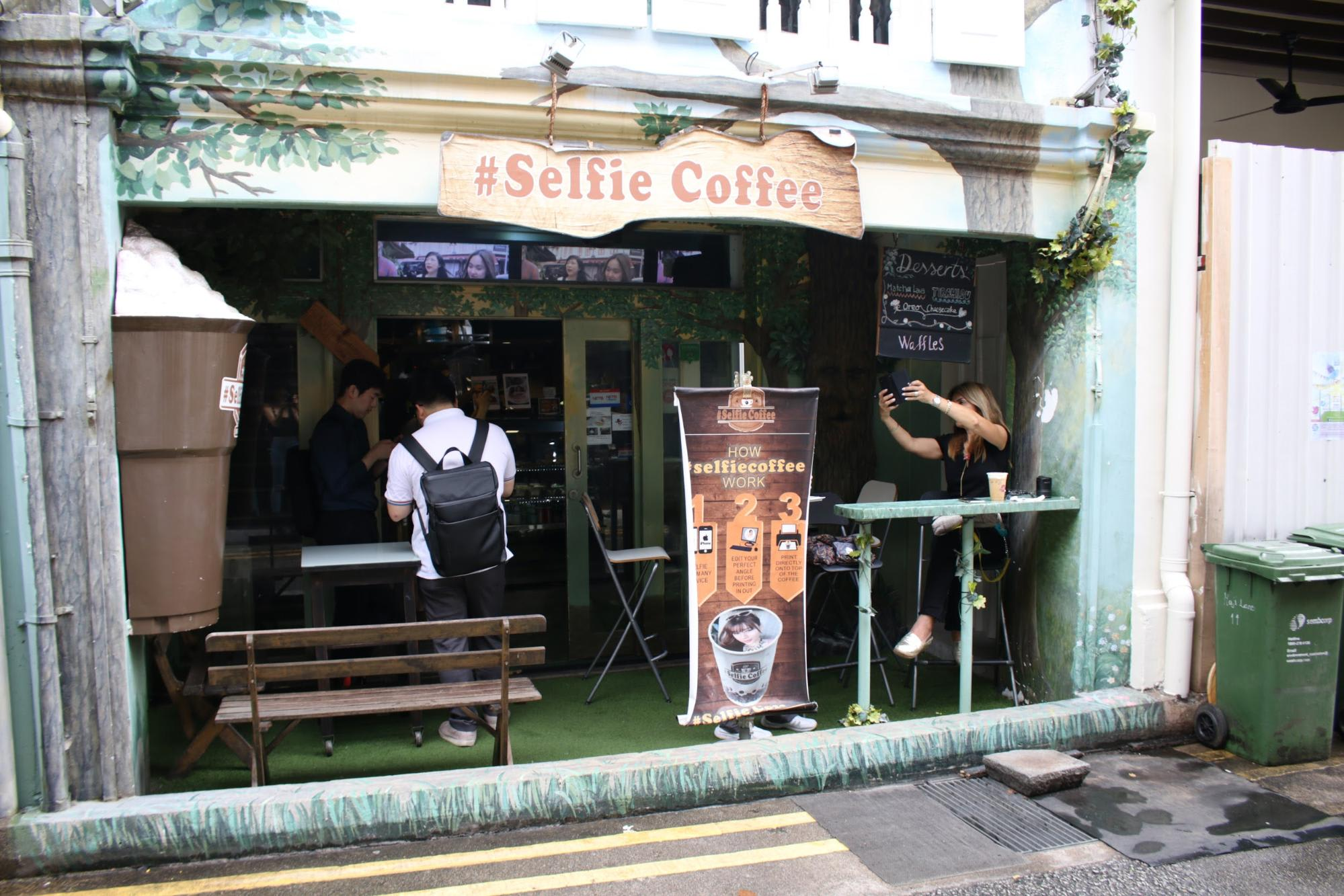 haji lane singapore selfie coffee cafe