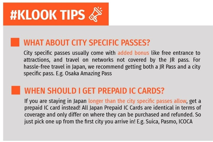 Klook tips on city specific passes in Japan
