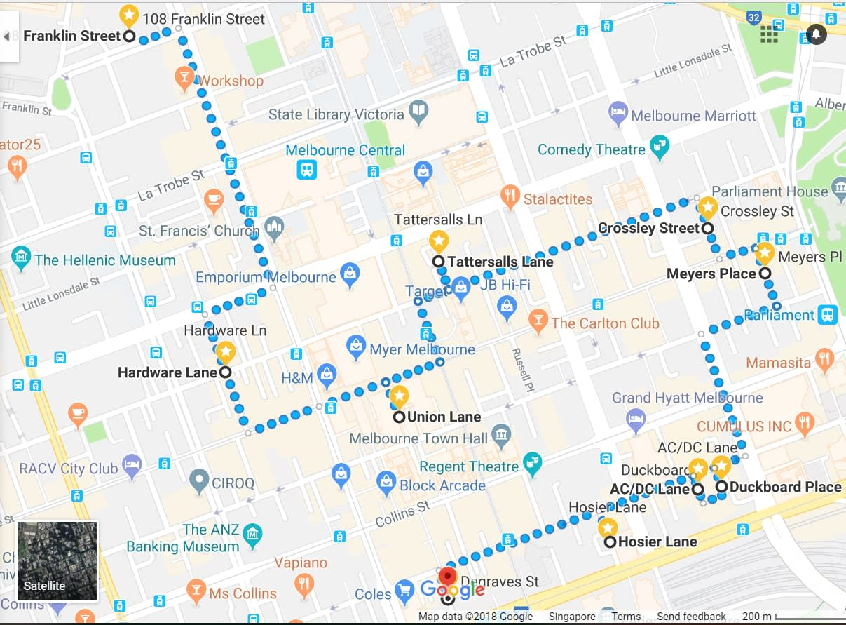 Melbourne laneways map