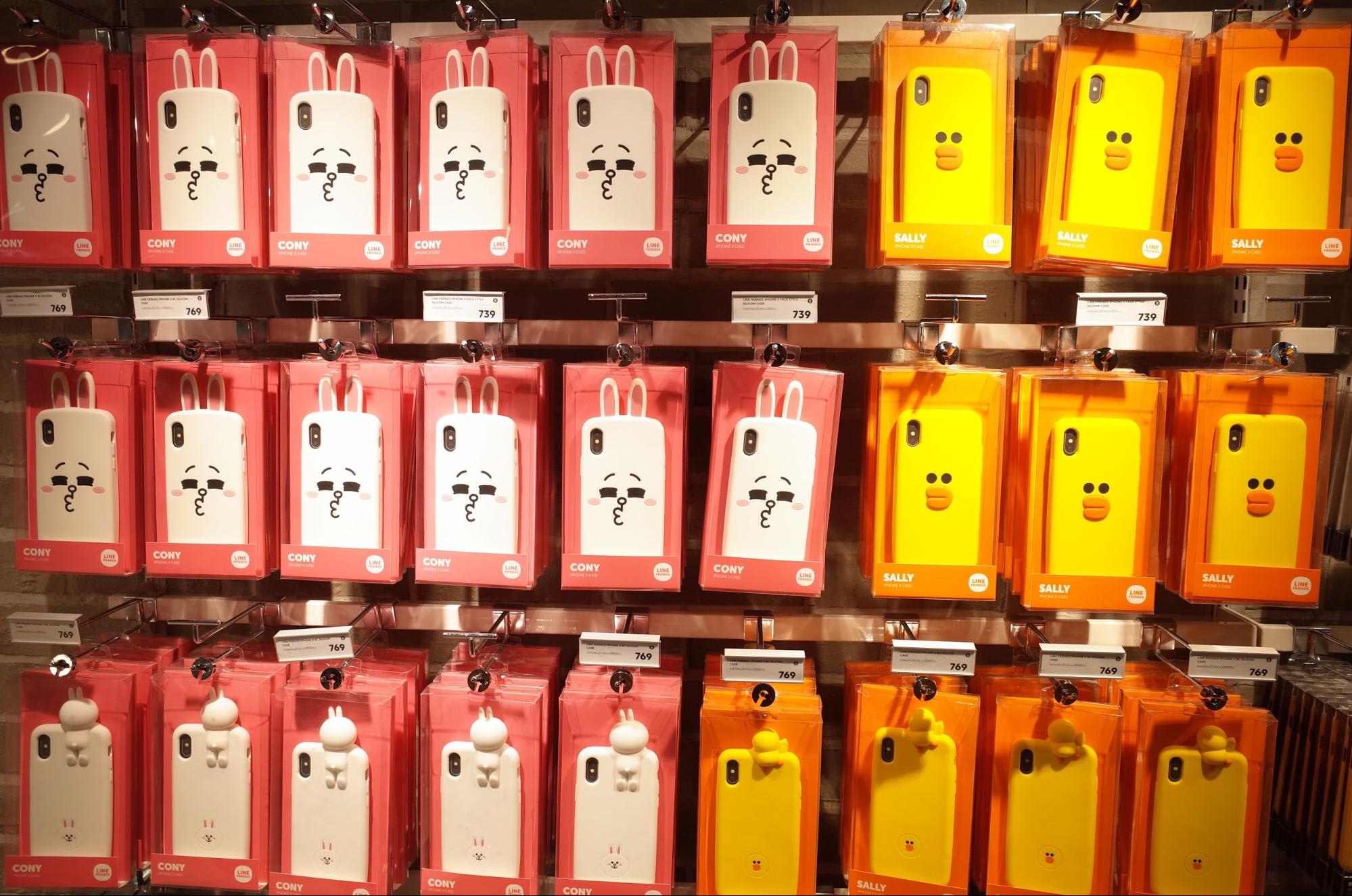 Sally and Cony phone cases at the LINE Store in Bangkok