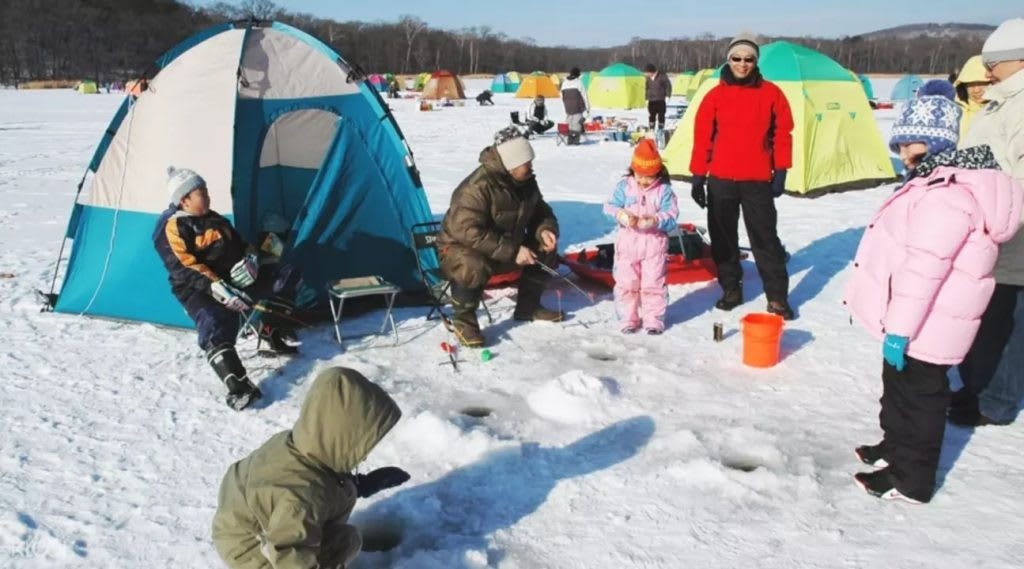 Ice fishing in Hokkaido