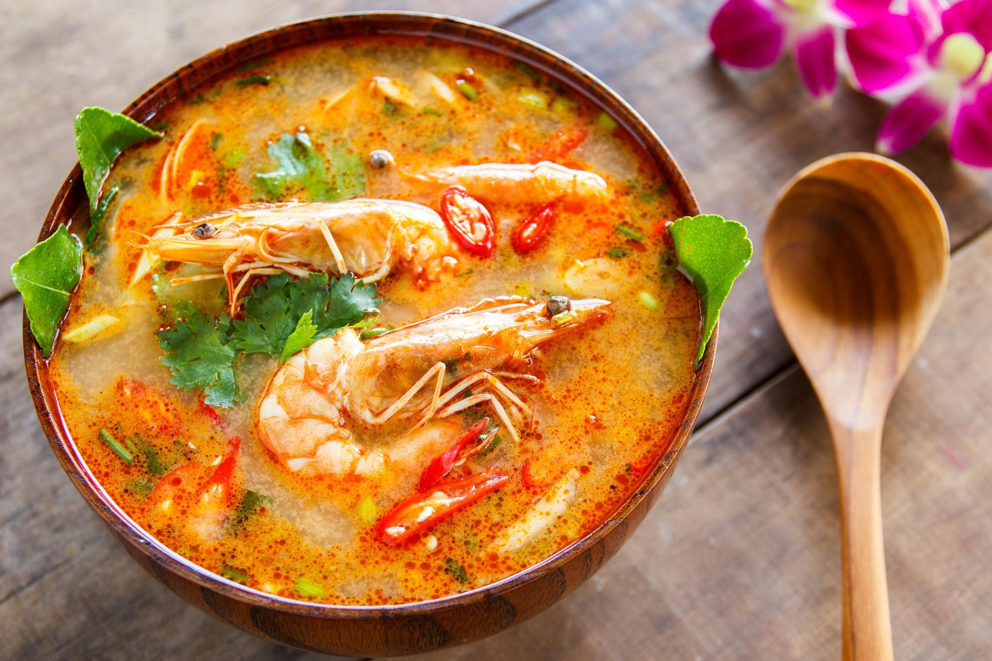 Tom yum soup at Bangkok Cooking Academy