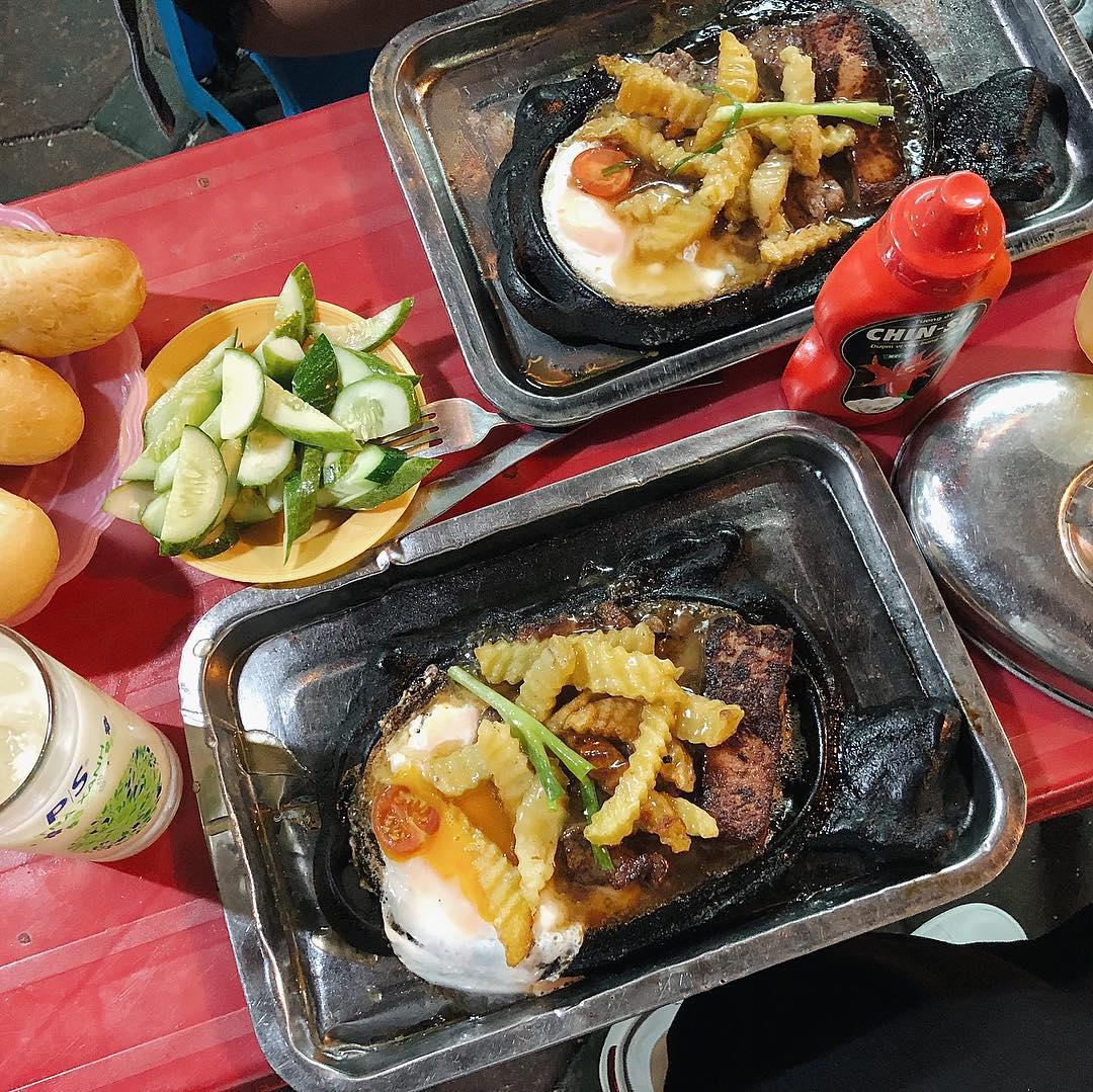Vietnamese-style steak in Hanoi