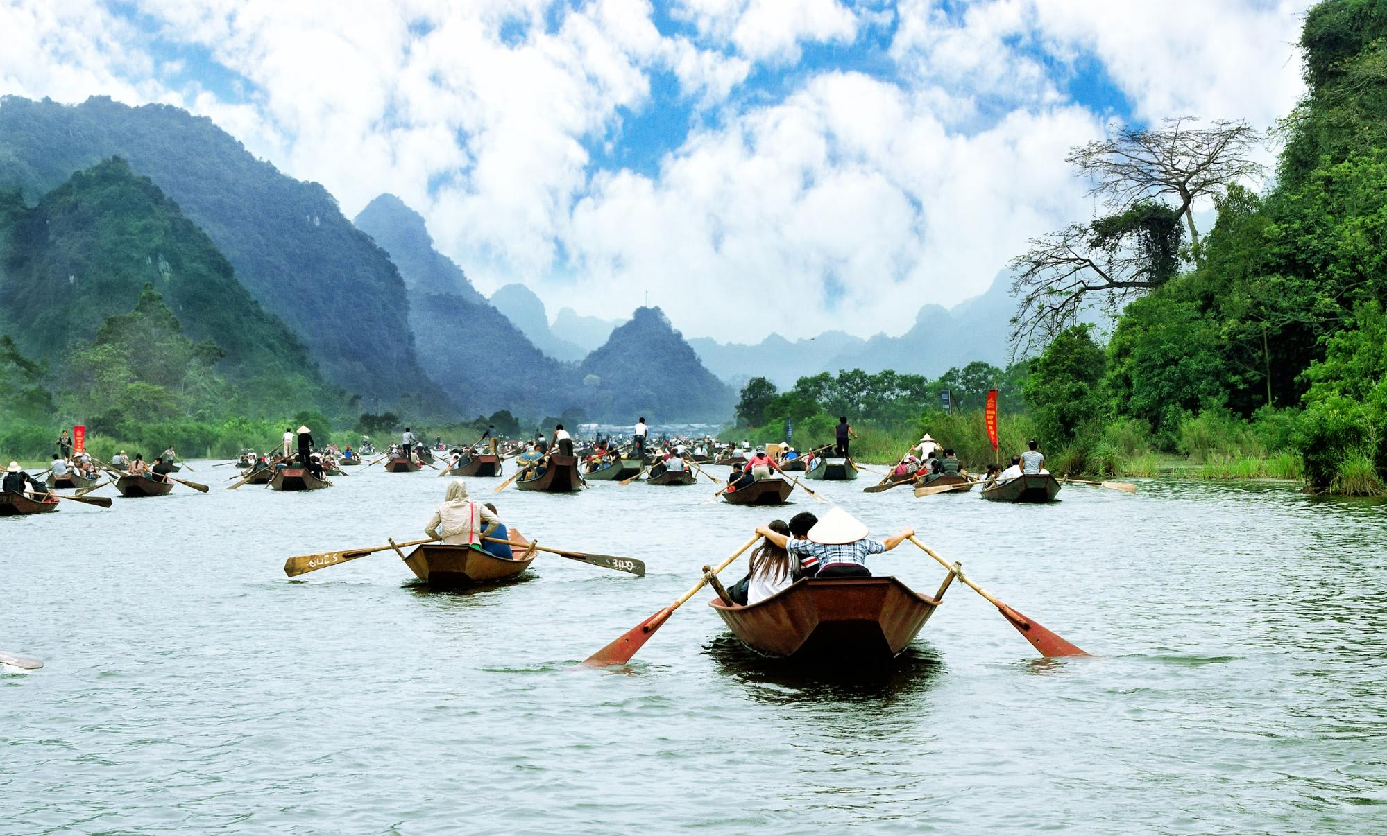 Bamboo boats on Halong Bay