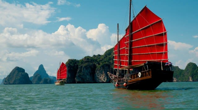 Romantic things to do in Phuket for couples - Phang Nga Bay sunset cruise