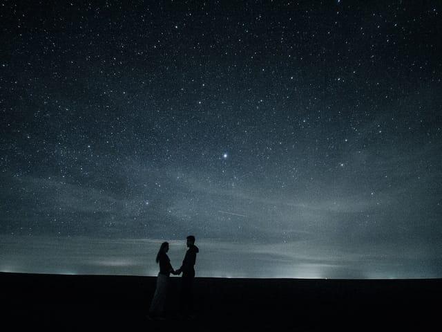 Couple Love Stars Hug Pair