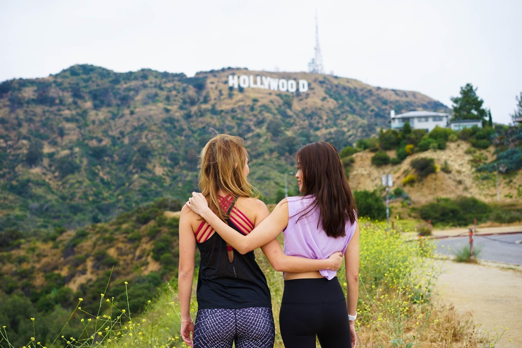 Taking a photo with the Hollywood Sign