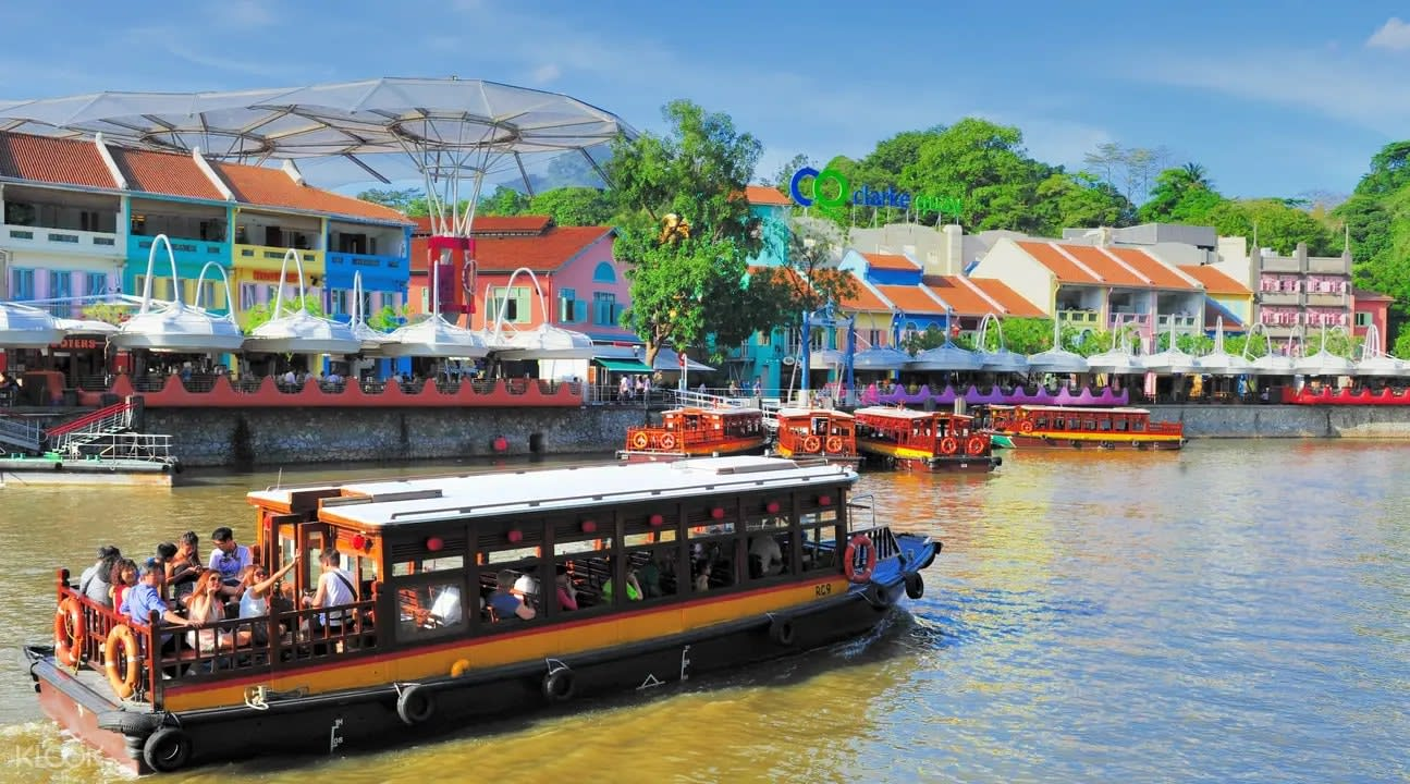 Colourful bumboat along the Singapore River