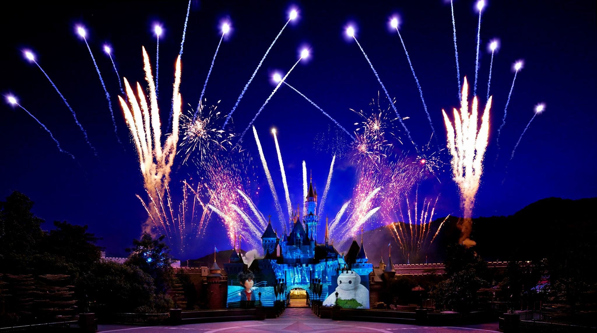 Fireworks show at Hong Kong Disneyland