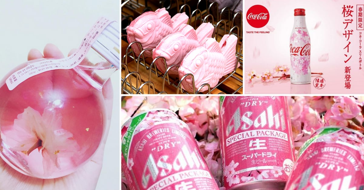 collage of cherry blossom products in Japan