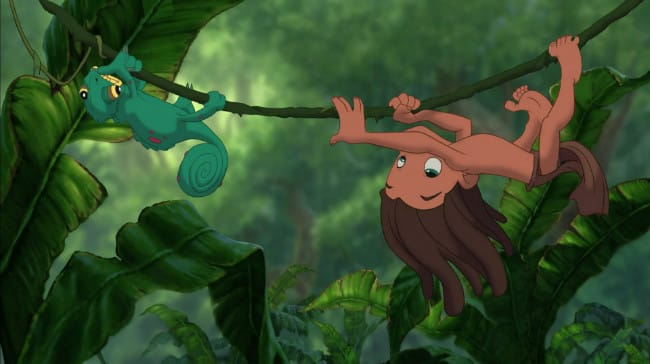 Young Tarzan and chameleon on a vine