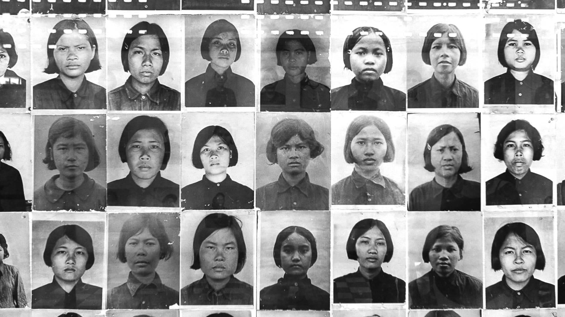 Portraits of the dead at Tuol Seng Museum in Cambodia