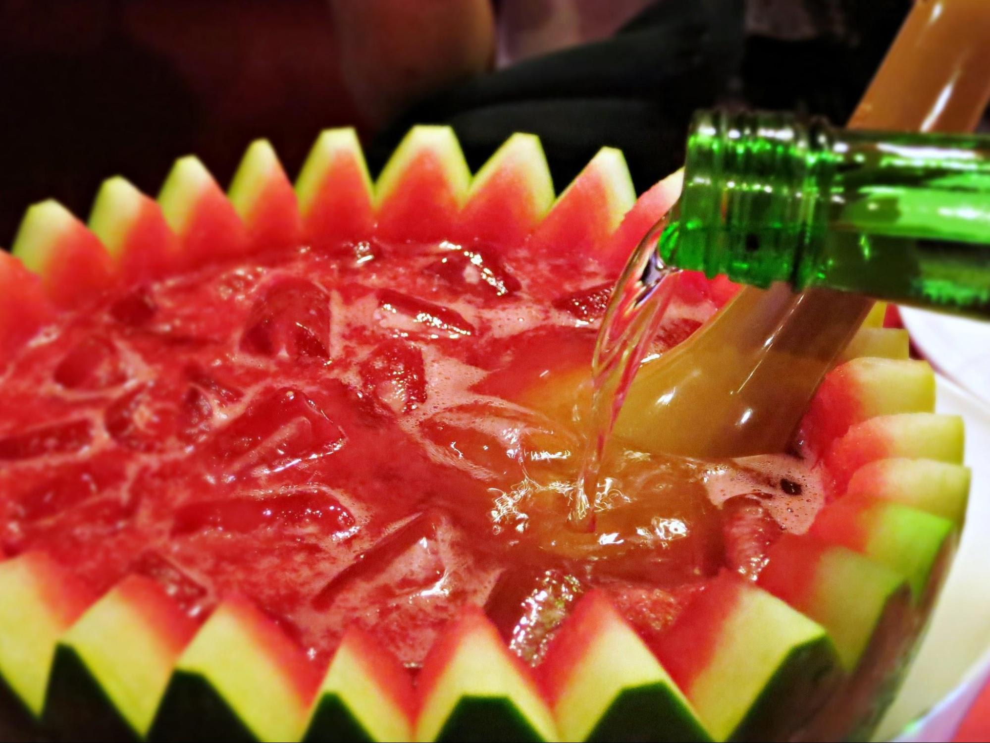 Soju poured into shell of watermelon